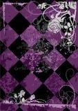 Rosen gestalten auf quadriertem violettem Hintergrund Lizenzfreie Stockbilder