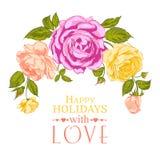 Rosen-Girlande im Feiertag. Lizenzfreies Stockbild