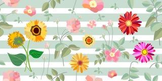 Rosen, Heckenrosen und Gerbera lizenzfreie abbildung