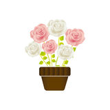 Rosen im Topf mit Stamm- und Blattblumenmuster lizenzfreie abbildung