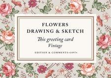 Rosen, Kamille Feldaufkleberkarte Auch im corel abgehobenen Betrag Schöne barocke Blumen Zeichnung, Stich floral Lizenzfreie Stockfotos