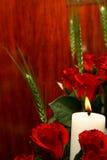 Rosen-Kerze stockbilder