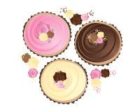 Rosen-kleine Kuchen Lizenzfreie Stockfotos