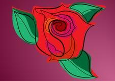 Rosen-Knospe mit Blättern stock abbildung