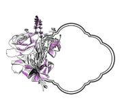 Rosen-Lavendelblumenstraußvektor gravieren den lokalisierten Rahmen lizenzfreie abbildung