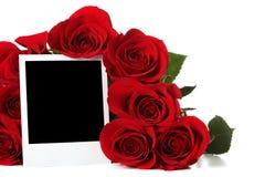 Rosen mit leerem Foto Stockfotografie
