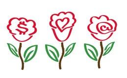 Rosen mit Symbolen Stockfoto