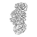 Rosen-Motiv, Blumengestaltungselementvektor auf weißem Hintergrund stockbilder