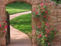 Rosen um mit einem Gatter geversehenen Eingang Stockbilder