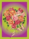Rosen und Basisrecheneinheiten auf einem Farbenhintergrund Stockfotos