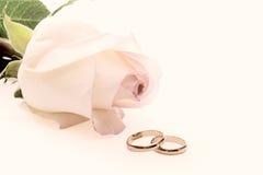 Rosen-und Hochzeitsringe Lizenzfreie Stockfotos