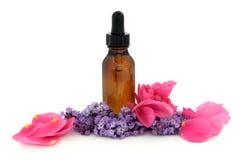 Rosen-und Lavendel-Therapie stockfotos