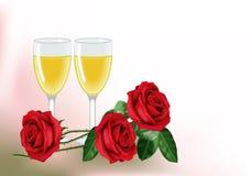 Rosen und Wein für zwei Lizenzfreies Stockbild