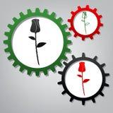 Rosen-Zeichenillustration Vektor Drei verbundene Gänge mit Ikonen stock abbildung