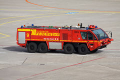 Rosenbauer airport rescue and firefighting vehicle at Cologne/ Bonn airport stock image