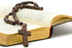 Rosenbeet mit heiliger Bibel lizenzfreie stockbilder
