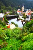 Rosenberg. View out of Rosenberg castle to small old town, Czech republic stock photography