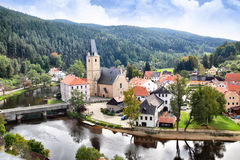 Rosenberg. View out of Rosenberg castle to small old town, Czech republic royalty free stock images
