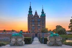 Rosenborg Castle in Copenhagen, Denmark. Rosenborg Castle or Rosenborg Slot at sunset, Copenhagen, capital of Denmark stock photo