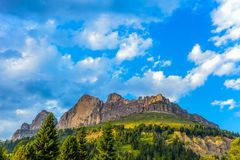 Rosengarten小组Rosengarten的山的看法与草甸和冷杉木的,在蓝色多云天空下,白云岩,意大利 免版税库存照片