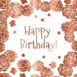 Rosengarten-ditsy mit Blumenalles- Gute zum Geburtstagvektor-Grußkarte in den kupfernen und weißen Farben lizenzfreie abbildung