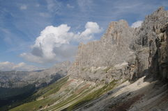 Rosengarten Group. These is the beautiful Rosengarten group massif in midst of the dolomites in Italy. The region is South Tyrol Stock Photo