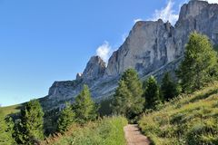 The Rosengarten Group, Dolomites. From the bottom of the Rosengarten Group, Dolomites Royalty Free Stock Photography