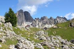 The Rosengarten Group, Dolomites. Trail along the bottom of the Rosengarten Group, Dolomites Stock Photos