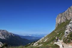 The Rosengarten Group, Dolomites. Trail along the bottom of the Rosengarten Group, Dolomites Stock Photo