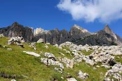 The Rosengarten Group, Dolomites. Trail along the bottom of the Rosengarten Group, Dolomites Royalty Free Stock Photos