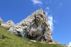 The Rosengarten Group, Dolomites. Trail along the bottom of the Rosengarten Group, Dolomites Royalty Free Stock Images