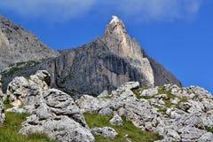 The Rosengarten Group, Dolomites. Trail along the bottom of the Rosengarten Group, Dolomites Stock Image