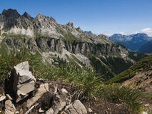 Rosengarten mountain rainge. Rosengarten Dolomites seen as compact mountain range, from the south, with clearly visible the geological structure of the mountain Stock Photography