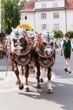 Rosenheim, Duitsland, 09/04/2016: De parade van het oogstfestival in Rosenheim Royalty-vrije Stock Afbeeldingen