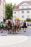 Rosenheim, Germany, 09/04/2016: Harvest festival parade in Rosenheim. Rosenheim, Germany - September 4, 2016: horse team the AuerBräu brewery at Thanksgiving Royalty Free Stock Photography