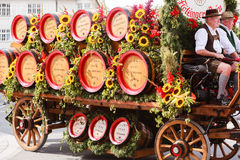 Rosenheim, Germany, 09/04/2016: Harvest festival parade in Rosenheim. Rosenheim, Germany - September 4, 2016: trailer with horses of Flötzinger brewery at Stock Photos