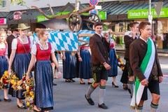 Rosenheim, Niemcy, 09/04/2016: Żniwo festiwalu parada w Rosenheim Obraz Stock