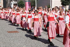 Rosenheim parade waitresses. Waitresses in traditional costumes during the costume parade traditionally opening the Rosenheim Herbstfest fair (29th of august Royalty Free Stock Image