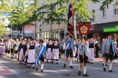 Rosenheim Tyskland, 09/04/2016: Tacksägelsefesten ståtar i Rosenheim Royaltyfria Bilder