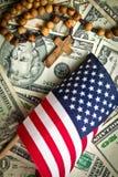 Rosenkranzperlen mit amerikanischer Flagge Stockfotos