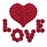 Roses à l'amour et aux coeurs de mot de forme Photos libres de droits