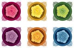 Roses. In jewelry boxes in different colors - red, yellow, green, violet, orange, blue Royalty Free Stock Photo
