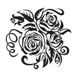 Roses. Abstract black roses on a white background Stock Photos
