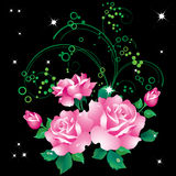 Roses. Abstract background with a bouquet of roses and ornaments royalty free illustration