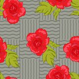 Roses. Scarlet bright roses on the gray background Stock Photos