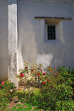 Roses and Adobe. Mission San Juan Bautista in California Stock Images