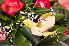 Roses and Alstroemeria bouquet close-up stock photos