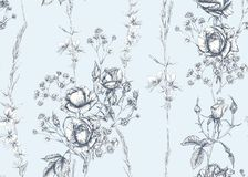 Free Roses And Spring Flowers Seamless Pattern Royalty Free Stock Images - 164127889