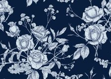 Free Roses And Spring Flowers Seamless Pattern Stock Photography - 164128192