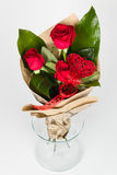 Roses bouquet arrangement top view Stock Photography